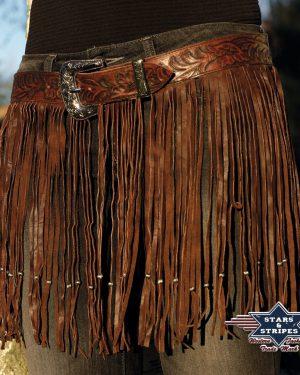 BONITA Dekorative Westerngürtel aus handpunziertem Rindsleder, mit Metallperlen verzierten, langen Fransen und austauschbarer Gürtelschnalle. Material: 100% Leder Größen: 30 | 32 | 34 | 36 | 38 | 40 lovelybul-westernstore-westernshop-westernreiten-ilz-austria