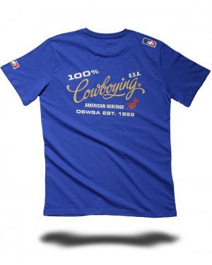 MENS T-SHIRT _100%Cowboying_ royal - OS-WESTERN SPORTS APPAREL.lovelybull-westernstore